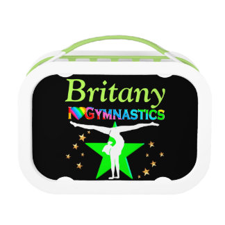 CUTE GREEN GYMNAST GIRL CUSTOM LUNCH BOX