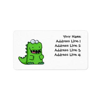 Cute Green Happy Dinosaur Label