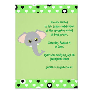 Cute Green Hearts Elephant Baby Shower Card