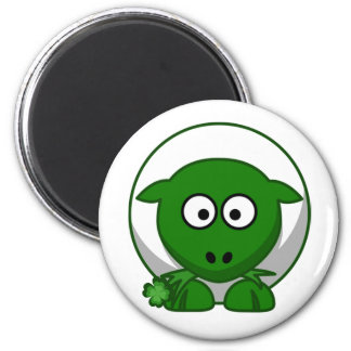 Cute Green Irish Sheep Cartoon 6 Cm Round Magnet