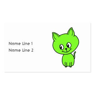 Cute Green Kitten Business Cards