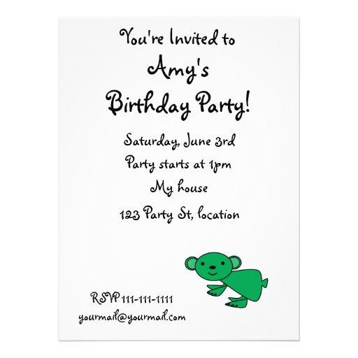 Cute green koala personalized invite