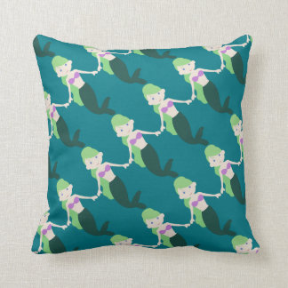 Cute Green Mermaid Throw Pillow
