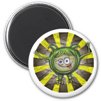 Cute Green Monster 6 Cm Round Magnet