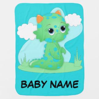 Cute Green Monster Baby Blanket