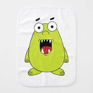 Cute green monster baby burp cloths