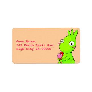 Cute Green monster Address Label