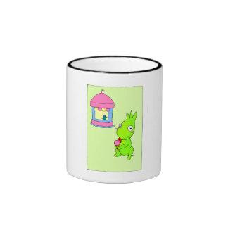 Cute Green monster Ringer Mug