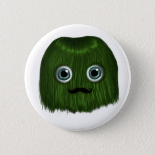 Cute Green Moustache Monster Badge/Button 6 Cm Round Badge