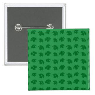 Cute green mushroom pattern 15 cm square badge
