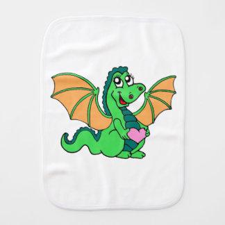 cute-green-orange-dragon burp cloth