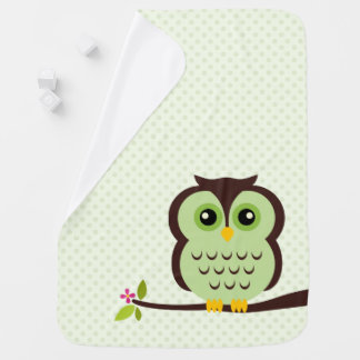 Cute Green Owl Baby Blanket