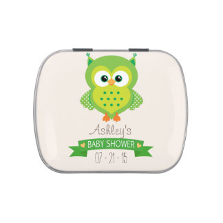 Cute Green Owl Baby Shower Candy Tins