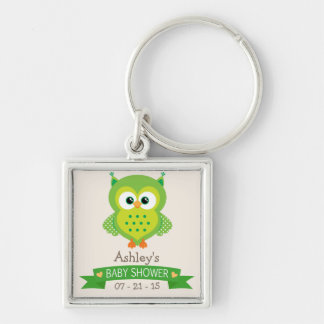 Cute Green Owl Baby Shower Key Chain