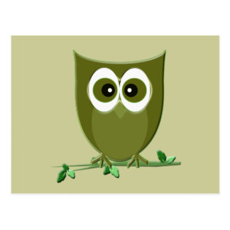 Cute Green Owl Birthday Greeting Cards Postcard