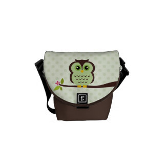 Cute Green Owl Commuter Bags