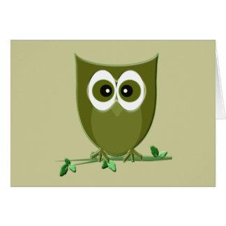 Cute Green Owl Digital Art Card