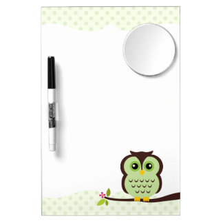 Cute Green Owl Dry-Erase Whiteboards