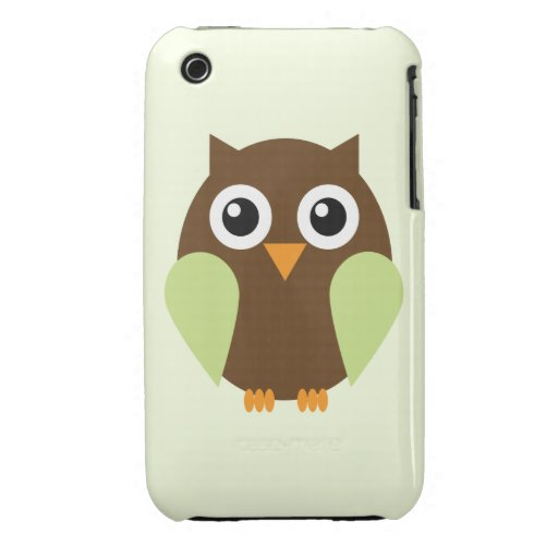 Cute Green Owl Illustration iPhone 3 Case-Mate Case