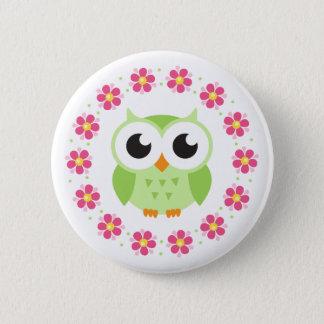 Cute green owl inside pink flower border 6 cm round badge