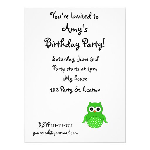 Cute green owl custom announcements