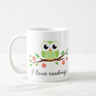 Cute green owl on floral branch I love reading Coffee Mug