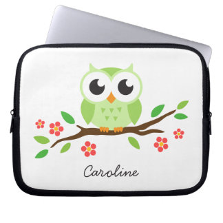 Cute green owl on floral branch personalized name laptop sleeve