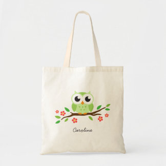 Cute green owl on floral branch personalized name budget tote bag