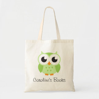 Cute green owl personalized library book