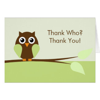 Cute Green Owl Thank You Cards