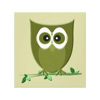 Cute Green Owl Wrapped Canvas