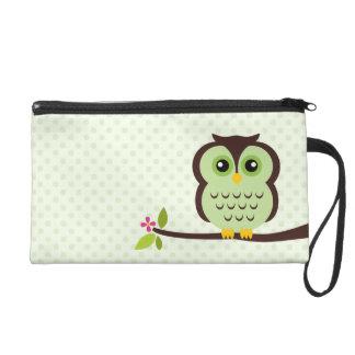 Cute Green Owl Wristlet Clutch