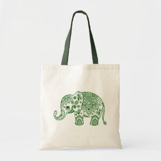 Cute Green Paisley Floral Elephant Illustration. Budget Tote Bag