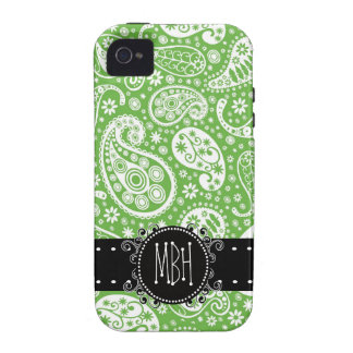 Cute Green Paisley with Personalization Case-Mate iPhone 4 Covers