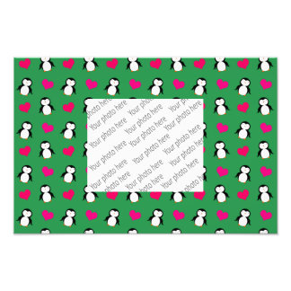 Cute green penguin hearts pattern photo print