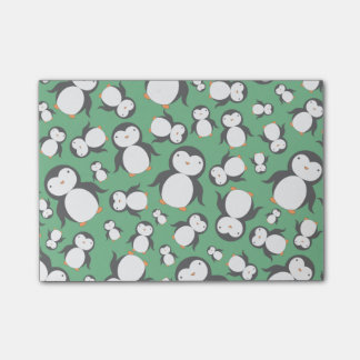 Cute green penguin pattern post-it notes
