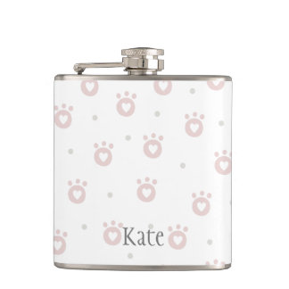 Cute Green Pet Paws with Hearts    Personalized Hip Flask