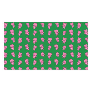 Cute green pig pattern business cards