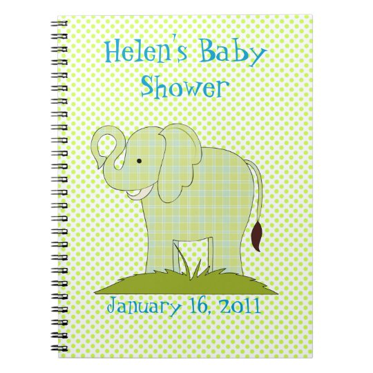 Cute Green Plaid Elephant Baby Shower Notebook