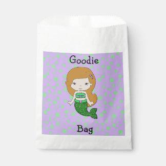 Cute Green & Purple  Mermaid Goodie Bag Favour Bags