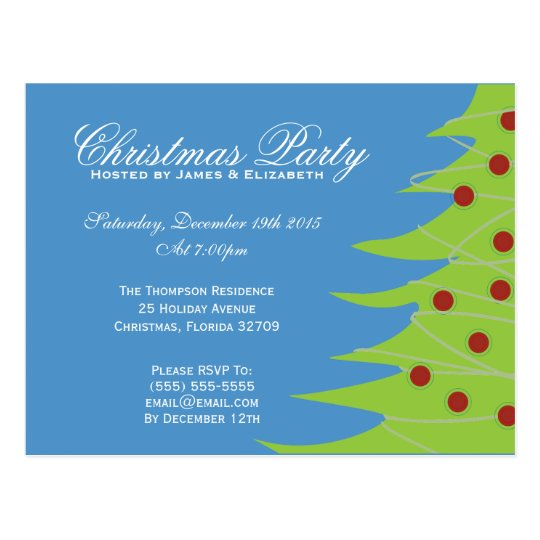 Cute Green Red and Blue Christmas Party Postcard