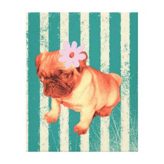 cute green retro stripes pug puppy stretched canvas print