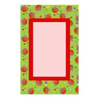 Cute Green Robin Red Breast Pattern note paper