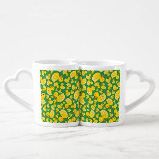 Cute green rubber ducks couple mugs