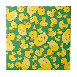 Cute green rubber ducks small square tile