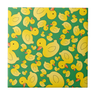 Cute green rubber ducks tile