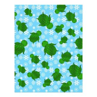 Cute green sea turtle christmas blue snowflakes 21.5 cm x 28 cm flyer