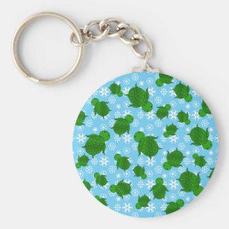 Cute green sea turtle christmas blue snowflakes basic round button key ring
