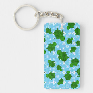 Cute green sea turtle christmas blue snowflakes Double-Sided rectangular acrylic key ring