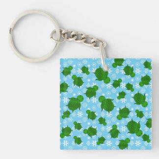 Cute green sea turtle christmas blue snowflakes Single-Sided square acrylic key ring